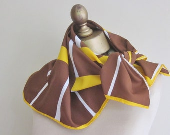 1970s vintage scarf, square, geometric, tobacco, marigold, mod neck scarf