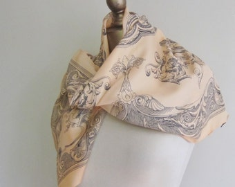 Baroque scarf, 1980s vintage Tie Rack, Art of the scarf, Rococo, 1980s , made in Italy, square scarf