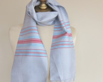 Long silk scarf, striped silk scarf, hair scarf, slubbed silk, summer scarf, vintage long scarf for a man or a woman