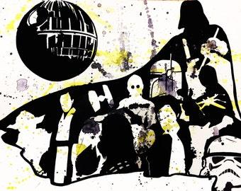 "Star Wars - 12"" x 9"" - Original Linoleum Block Print - Limited Edition"