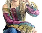 Hand Knit Cropped Sweaters Loose Knit Shrug Purple Ecru Teal Pink Khaki