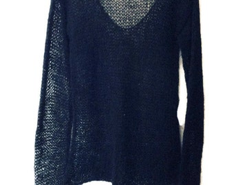 Black Loose Knit Sweater Grunge Sweater Loose Knit Mohair Top