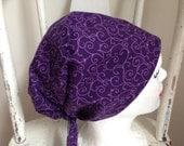 Scrub Hat Pixie Tie Back Style Purple with Lavender Swirls