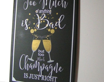 Champagne Bar/New Years Eve Wedding/Champagne Party Sign/Holiday Party Sign/Home Bar Sign/ Gold Metallic