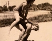 Leapfrogging Flapper Girl Friends Bathing Beauties Vintage Photo