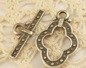 Large Guinevere Pewter Toggle Clasp, Mykonos Casting Beads (1 set) - M85 - X2777