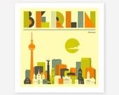 BERLIN SKYLINE, Colorful, Modern Wall Art for the Home Decor, Giclee Fine Art Print