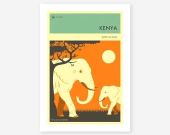 KENYA TRAVEL POSTER (Giclée Fine Art Print/Photo Print/Poster Print) by Jazzberry Blue