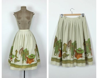 50s Novelty Print Western Skirt • 1950s Cotton Full Skirt with Cowgirl Boots Hat Horse Saddle • Vintage A line Swing Skirt • Medium • Large