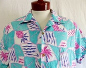 aloha vintage 80's Hawaiian highways pastel aqua blue green hawaiian shirt purple hot pink blue pineapple palm tree reverse print tropical L