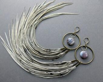 Feather Hoop Earrings - Extra Large Hoop Earrings - White Feather Earrings - Huge Hoops - Extra Long Feather Earrings - Big Hoop Earrings