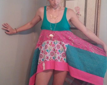 Upcycled clothing/ junk gypsy boho top/boho tunic/eco clothing/M-L/shabby chic/lagenlook top/festival wear/prairie chic dress
