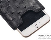 """PUHAMA HA31 Hand-Stitched Custom Made Ostrich Leather Case Wallet for Apple iPhone 6  (4.7"""")"""