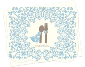 Fork & Spoon Letterpress Wedding Congratulations Card • LP1503