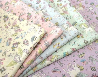 Cute Unicorn Pegasus Print Japanese Fabric Available in 5 Colors - 108cm x 50cm