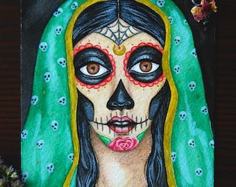 """Dia de los Muertos - 5x7"""" Original watercolor painting, Mexican, Day of the Dead, Calavera, Witchy"""