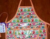 Vinyl Childs Painting Apron - Toddler Apron Laminated Cotton - Owl Apron - Size Small