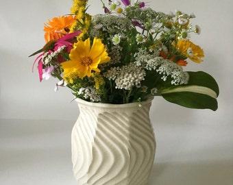White Flower Vase / Hamdmade Faceted Textured Ceramic Vase