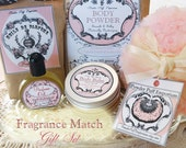 Matched Fragrance GIFT SET (roll on perfume oil, body balm, dusting powder, powder puff, gift bag) - New Fragrance Dupes Available!