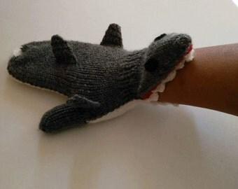 Knit Shark Mittens-Shark gloves-fingerless