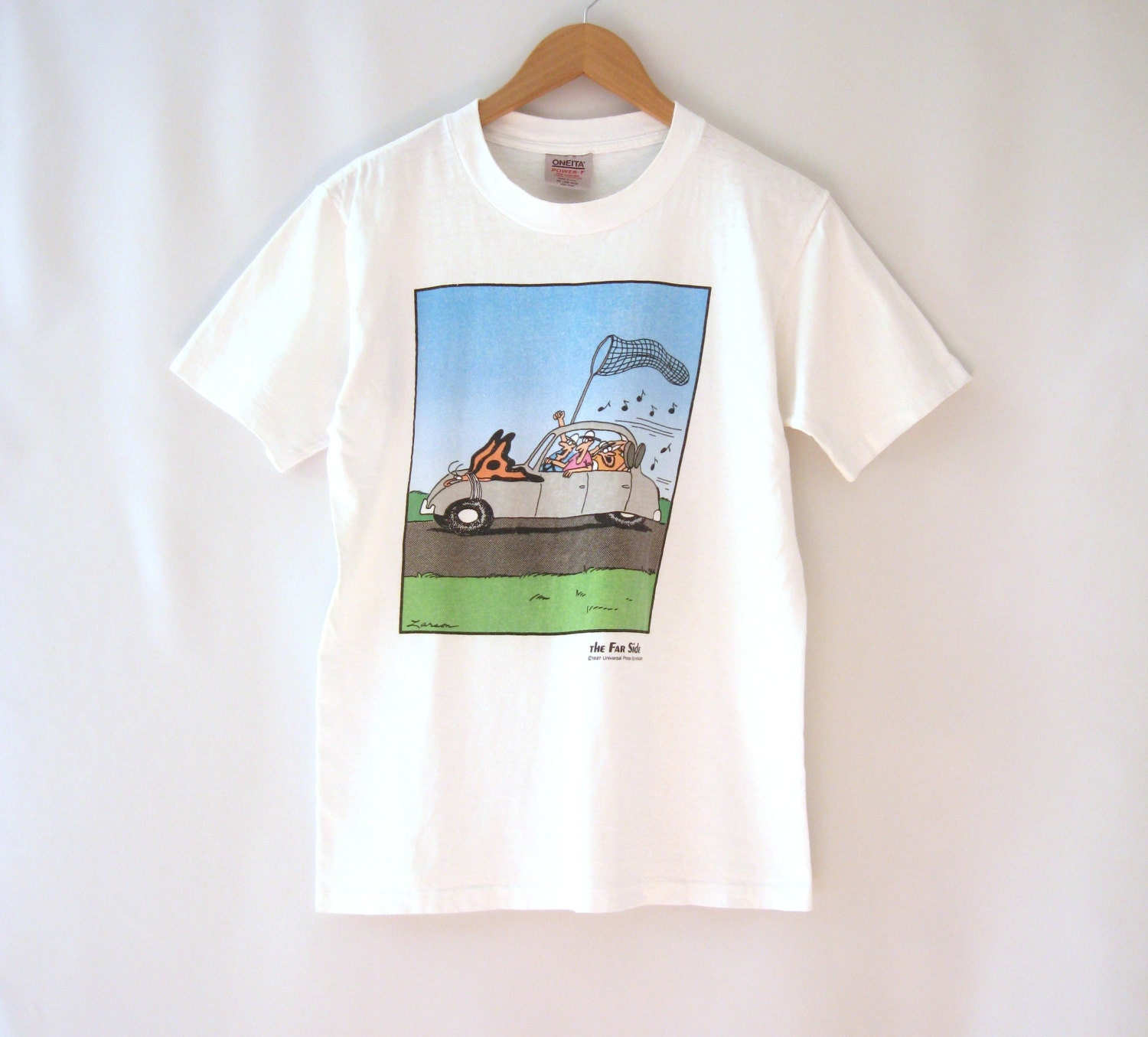 80s The Far Side T Shirt Comic Strip Cartoon Butterfly Hunting