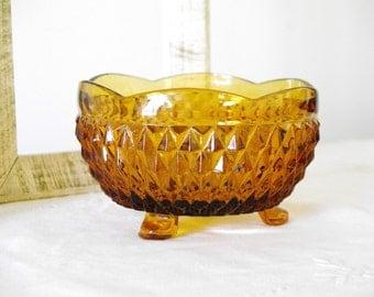 Amber Glass Dish Bowl