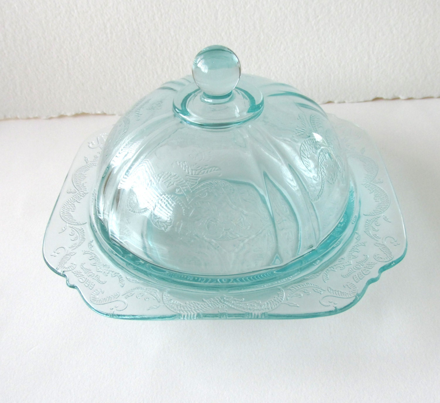 Vintage Depression Glass Blue Butter Dish With Dome Lid