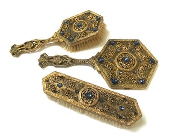 E & JB Antique Ormolu - Brush Hand Mirror Set - Blue Jeweled - Vanity Set - Empire Art Gold