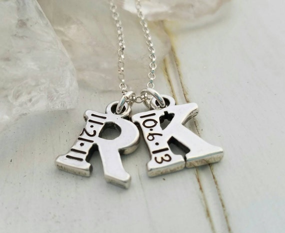 Small 2, Two Letter Initial, Solid Sterling Silver Hand Stamped Custom Made Personalized Letter Initial, Charm Necklace with Birth Date