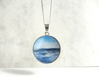 Unique Hand Painted Pendant, Ocean Necklace, Sea Charm, 925 Sterling Silver Bezel Necklace, Original Art Painting Jewelry by Artdora
