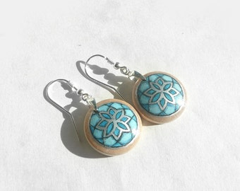 Awesome Hand Painted Earrings, Sterling Silver Dangle Earrings, Turquoise Blue Earrings, 925 Silver Wood Jewelry, Geometric Design, Artdora