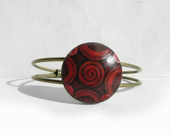 Red Bracelet Cuff Bracelet, Hand Painted Bracelet, Red Art, Original Modern Painting Jewelry, Small Acrylic Painting by Artdora from Germany