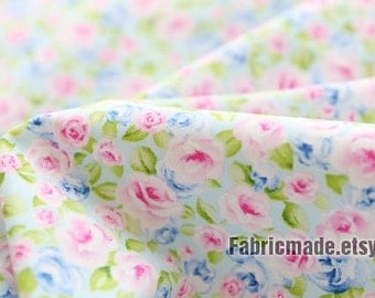 Floral Cotton Fabric Shabby Chic Blue Pink Rose Flower On White