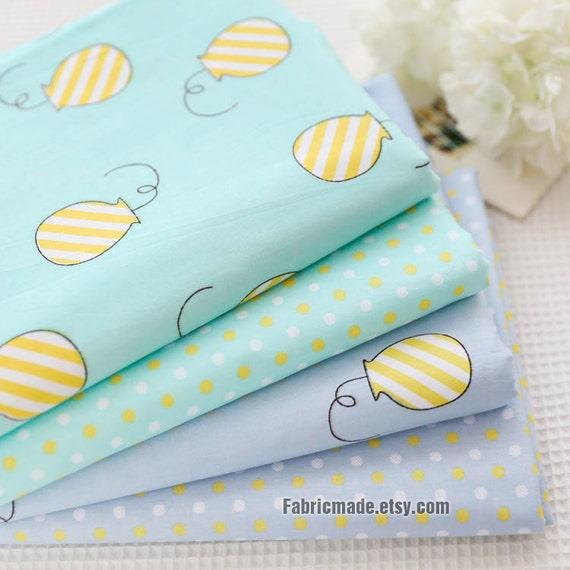 Kid's Baby Quilt Cotton Fabric, Pastel Aqua Green Gray Blue Cotton Cute Yellow Money Box Polka Dots - 1/2 Yard