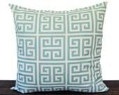 Blue Throw Pillow, Pillow Sham, Cushion Cover light blue and natural Greek Key print