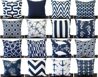 "Navy Blue pillow cover 12"" x 16"" One cushion cover in New Navy and white throw pillow ocean beach decor"