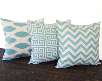 Throw pillows, Pillow Shams, Cushion Covers set of three Greek Key Chevron ikat Chipper - pale smokey blue and natural