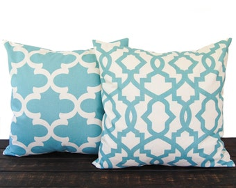 Throw pillow covers, cushion cover, pillow sham, pair of two Greek Key chevron scroll village blue and natural