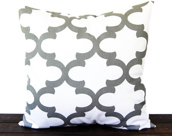 Pillow, Cushion Cover, Pillow Sham, Pillow Cover Gray White Moroccan Scroll Fynn