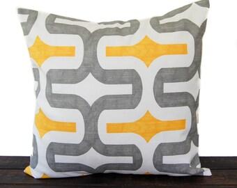 Pillow, Cushion Cover, Pillow Sham, Pillow Cover Gray Corn Mustard Yellow White Embrace Scroll