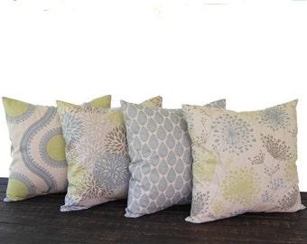 Pillows, Throw Pillow Covers, Cushion, Decorative Pillow, set of four blue green kiwi gray beige oatmeal geometric modern decor