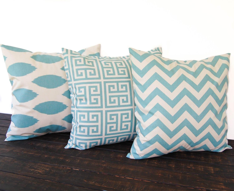 Smokey Blue Throw Pillows : Throw pillows Pillow Shams Cushion Covers set of three Greek
