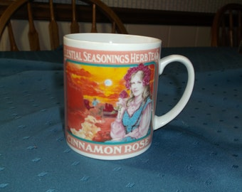 Vintage, ceramic, Celestial Seasoning advertisment mug, feauturing Cinnamon Rose tea.
