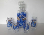 SALE, Exquisite French Decanter with 6 glasses, blue and gold, Grape leaf design, gift idea, barware