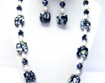 Black/Gray Splatter Square Glass Bead Necklace & Earrings Set