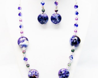 Purple Splatter Disc Ceramic Bead Strand Necklace & Earrings