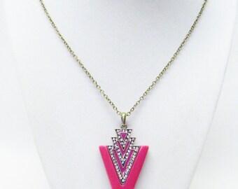 Iron Lily Fuchsia Glass Pendant w/Rhinestone Necklace