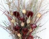 Dried Flower Bouquet Burgundy Cream Rose Love In A Mist Sun Flower Cedar Rose Feather Grass Bridal Wedding Arrangement