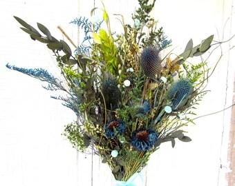 Dried Flower Bouquet Spring Wedding Arrangement Bridal Bouquet Home DecorTeal Aqua PeonyThistle Eucalyptus