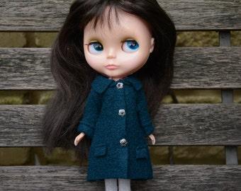 Blythe doll sized teal blue 100% boiled wool coat.  For Blythe, Dal, Pullip, Licca or similar scale dolls